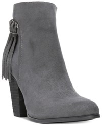 Carlos By Carlos Santana Twilight Fringe Block Heel Booties Women's Shoes Charcoal Grey