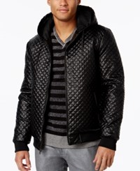Inc International Concepts Men's Quilted Faux Leather Bomber Only At Macy's Black