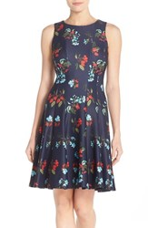 Women's Gabby Skye Floral And Fruit Print Scuba Fit And Flare Dress