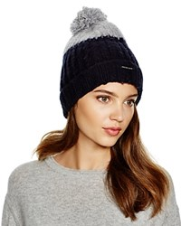 Michael Kors Color Block Brushed Wool Beanie With Pom Pom