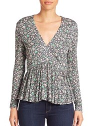 Rebecca Taylor Lavish Floral Print Peplum Top Forest