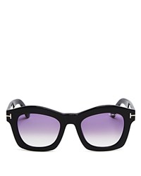 Tom Ford Greta Wayfarer Sunglasses 50Mm Shiny Black Gradient Purple Lenses