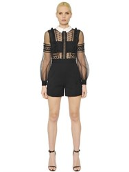 Self Portrait Guipure Lace Chiffon And Crepe Romper