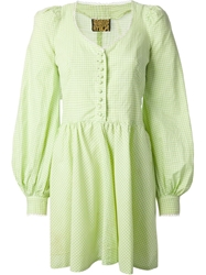 Biba Vintage Gingham Check Skater Dress Green