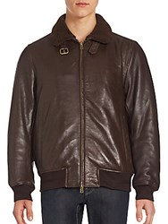 Vince Camuto Fur Trimmed Leather Long Sleeve Jacket Brown