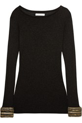 Balmain Pierre Chain Embellished Stretch Jersey Top Charcoal