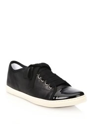 Lanvin Leather And Patent Leather Low Top Sneakers Black Nude