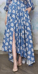 Luisa Beccaria Custom Cotton Printed Buttoned Floor Length Maxi Skirt