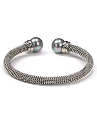 Majorica Stainless Steel And Gray Simulated Pearl Bangle Silver