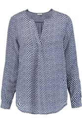 Joie Deon Printed Washed Silk Blouse Navy