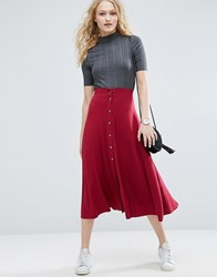 Asos Midi Skater Skirt With Poppers Pink Grey