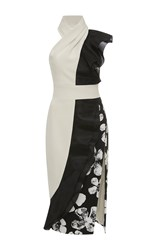 Ungaro Emanuel Halter Color Block Side Slit Dress White Black