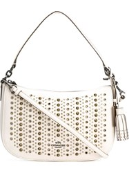 Coach Studded Shoulder Bag White
