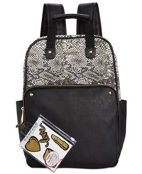 Rampage Customizable Canvas Colorblock Backpack With Stickers Only At Macy's Snake Black