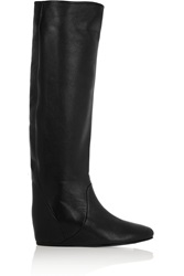 Lanvin Textured Leather Wedge Knee Boots Black