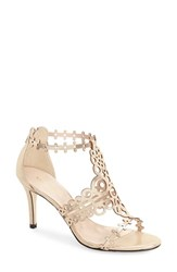 Women's Klub Nico 'Antonia' Laser Cut T Strap Sandal Champagne Leather