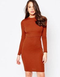 Ax Paris Long Sleeve Dress With Overlay Rust Red