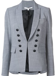 Veronica Beard Button Detail Blazer Grey