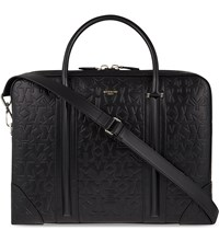 Givenchy Logo Embossed Leather Briefcase Black