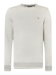 Duck And Cover Textured Crew Neck Pull Over Jumpers Light Grey