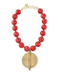 Red Jasper Bead Necklace With African Brass Pendant Nest Jewelry