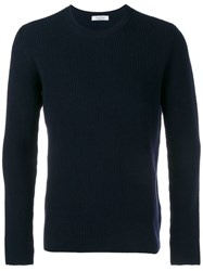Valentino Ribbed Crew Neck Jumper Blue