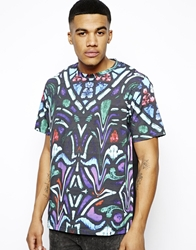 Illustrated People T Shirt With Stained Glass Print Purple