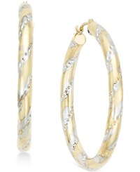 Macy's Cubic Zirconia Accent Large Hoop Earrings In 10K Two Tone Gold