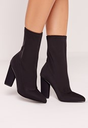 Missguided Pointed Toe Neoprene Heeled Ankle Boots Black Black