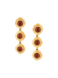 Chanel Vintage Poured Glass Drop Clip On Earrings Yellow And Orange