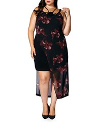 Mblm By Tess Holiday Plus Sleeveless Printed Asymmetric Dress Black