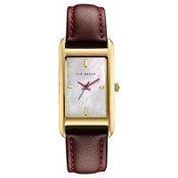Ted Baker Women's Bliss Rectangular Leather Strap Watch Brown Mother Of Pearl
