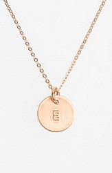 Women's Nashelle 14K Rose Gold Fill Initial Mini Disc Necklace 14K Rose Gold Fill E