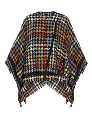 Etro Hound's Tooth Check Wool Blend Cape Multi