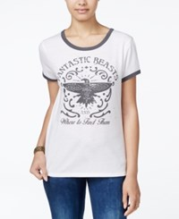 Bioworld Fantastic Beasts Juniors' Graphic Ringer T Shirt Ivory