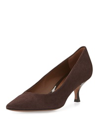Rome Suede Low Heel Pump Dark Brown Donald J Pliner