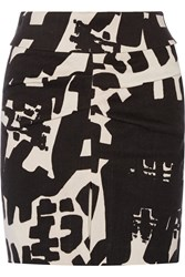 Isabel Marant Leiko Ruched Printed Linen Blend Mini Skirt Black