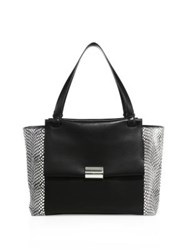 Salvatore Ferragamo Large Bitter Leather And Snakeskin Flap Tote Black White