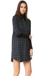 Madewell Plaid Flannel Side Button Dress Smoky Spruce