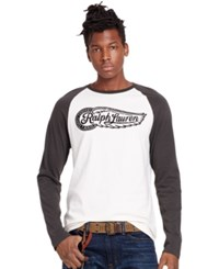 Denim And Supply Ralph Lauren Cotton Graphic Baseball Tee Antique Cream Faded Black