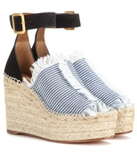 Chloe Suede And Canvas Wedge Espadrilles Blue
