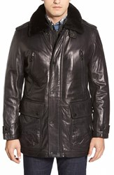 Andrew Marc New York 'Ernest' Leather Car Coat With Genuine Shearling Collar Black