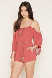 Forever 21 Tasseled Open Shoulder Romper