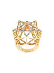John Brevard 'Framework' Star Partial Diamond Pave Ring Metallic
