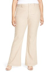 Nydj Plus Size Women's 'Claire' Stretch Wide Leg Trousers Natural
