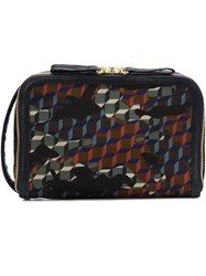 Pierre Hardy 'Dop Kit' Forest Camocube Print Clutch Black