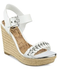 G By Guess Women's Elliot Platform Wedge Sandals Women's Shoes White
