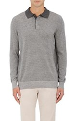 Piattelli Men's Striped Silk Cashmere Polo Sweater Grey