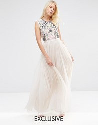 Needle And Thread Embroidery Lace Maxi Dress Rose Beige