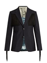 Gucci The Heritage Fringe Trimmed Blazer Black